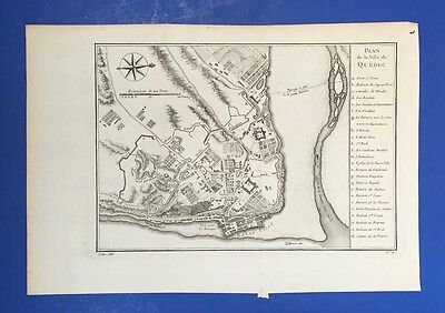 Rare antique 18th Century Map - Plan de la Ville de Quebec 1755