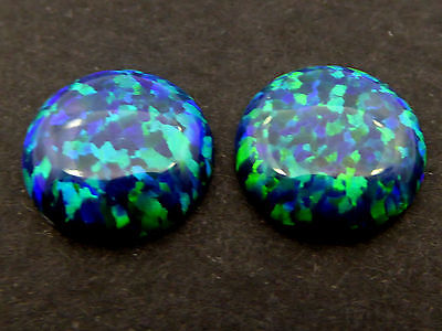 2 Stk. Synthetische Opale 12mm Peacock Cabochon (OP2)