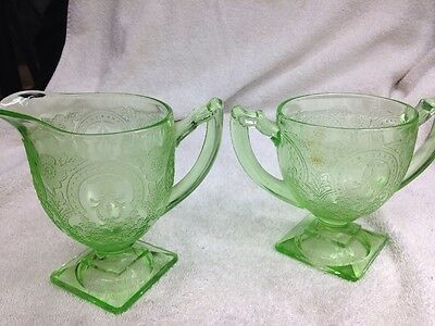 Indiana Glass Green Vaseline Depression Horseshoe Footed Creamer and Sugar 1930s