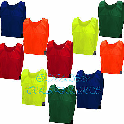 10 FOOTBALL TRAINING SPORTS BIBS Kids Youth Adult Hockey Inmates Rugby Vests