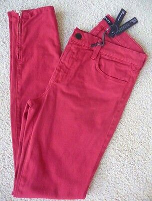 NWT J Brand 8428 luxe sateen mid rise ankle crop pants in red burn Retail $198