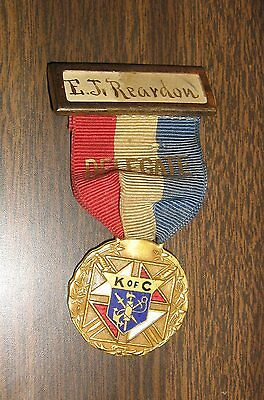 1914 Antique Knights of Columbus K,C,Delegate Ribbon,Medal, Missouri Convention