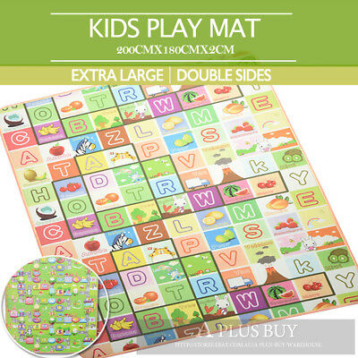 2x1.8m Large 20mm Thick Kids Baby Play Mat Floor Rug 2 Sides Alphabet Animal E