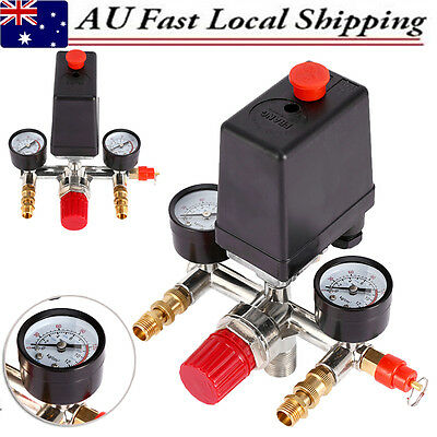 Pressure Switch Valve w/ Manifold Regulator Gauges For Air Compressor 90-120PSI
