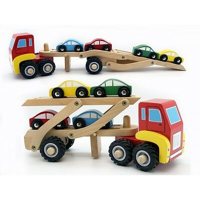 NEW Kaper Kidz Wooden Semi Truck / Car Carrier with 4 Cars