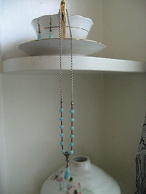 Handcrafted Beaded Amazonite Silver Pendant Necklace Earrings Hippie Boho Beach