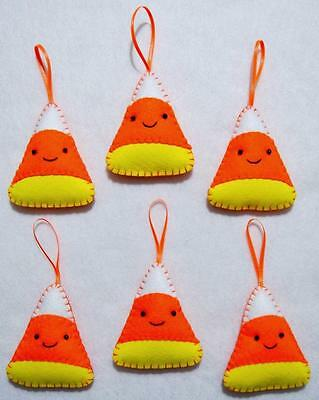 Set Of 6 Hand~Crafted Felt Candy Corn Face Halloween Tree Ornaments