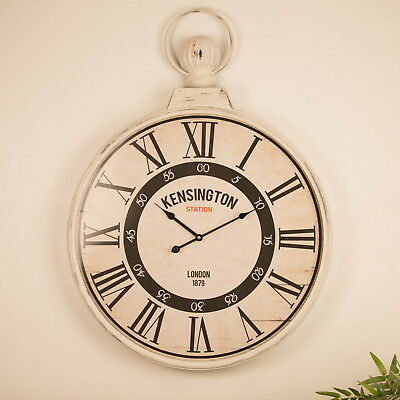 Large Wall Clock 60cm RUSTIC BROWN Metal Industrial Iron Vintage Funky Cool