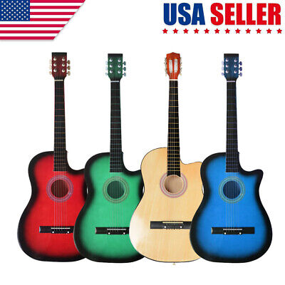 """38"""" Beginners Cutaway Acoustic Guitar with Guitar Plectrum String 19 Frets"""