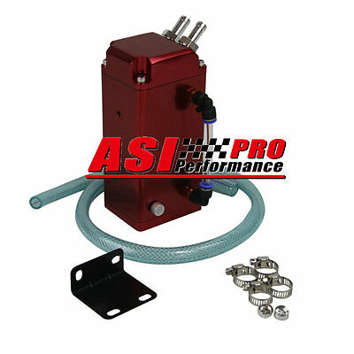 Pro 1L Square Aluminum Engine Oil Catch Tank Breather Can + Hose Kit Red