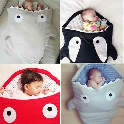 Baby Infant Winter Shark Swaddle Blanket Wraps Sleeping Bag For Pram Bed * Soft