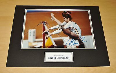 Nadia Comaneci GENUINE SIGNED 16x12 Photo Display Romanian Olympic Gymnast + COA