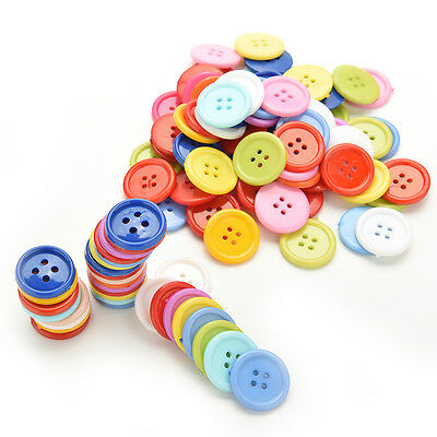 100Pcs Multicolor Sewing Plastic Round Buttons 4 Holes for Kid DIY Crafts  ST