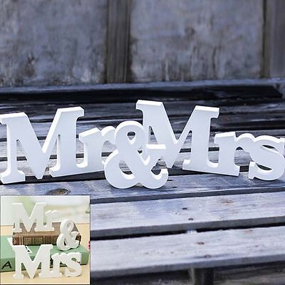 Mr & Mrs Letter White Wood Wedding Sign Photo booth Props Table Decoration UK