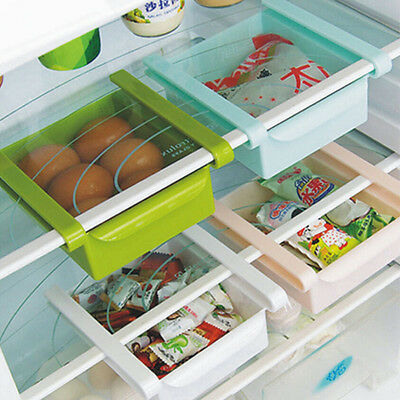New Slide Kitchen Fridge Freezer Space Saver Organizer Storage Rack Shelf Holder