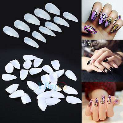 600Pcs Natural/White Artificial Sharp Nail Art Tips Pointy Fake False Full Cover