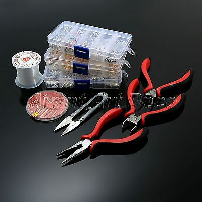 Jewellery Making DIY Mix Components Starter Tools Head Pins Beads Pliers Box Kit