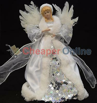 Silver & White 30cm Christmas Tree Top Fairy Angel House Decoration Ornament