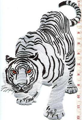 Bengal white tiger tattoo applique iron-on patch HUGE XL 7.25 X 11.25 in. S-1222