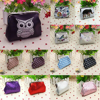 Women's Printing Sequin Dot Leather Wallet Card Holder Coin Purse Clutch Handbag