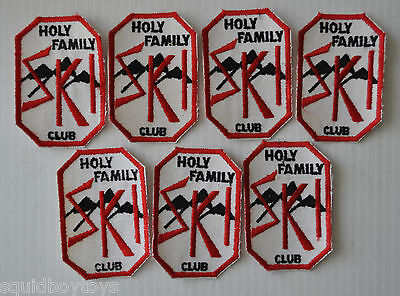 lot of 7 HOLY FAMILY Downhill SKI CLUB vintage PATCH 60s Skiing