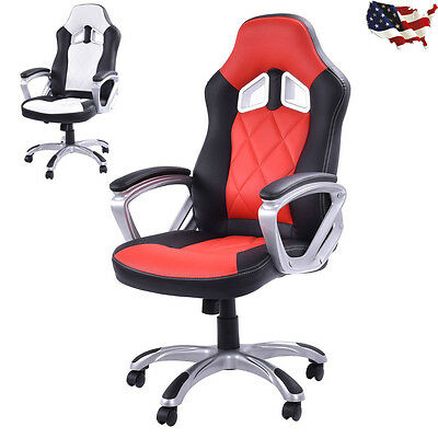High Back Racing Style Bucket Seat Gaming Chair Swivel Office Desk Task US NEW