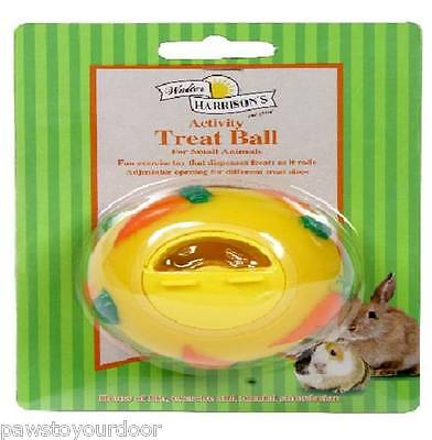 Walter Harrisons Small Animal Treat Ball Snack Dispensing Toy Yellow Blue