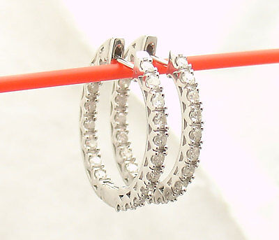 1 tcw Inside Out Prong Set Natural Diamond Hoop Earrings REAL 925 Silver
