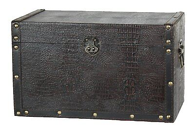 Vintiquewise Decorative Leather Trunk, Wood, Black
