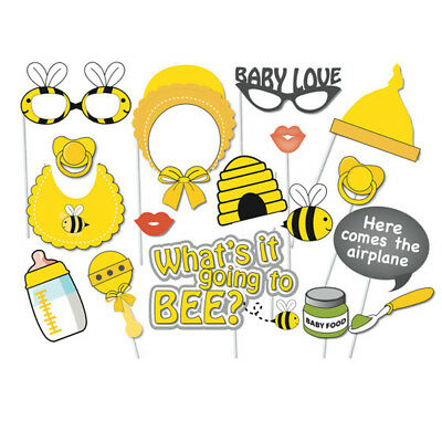 17pcs Cute Bee Theme Baby Shower Party Photo Booth Props DIY On A Stick