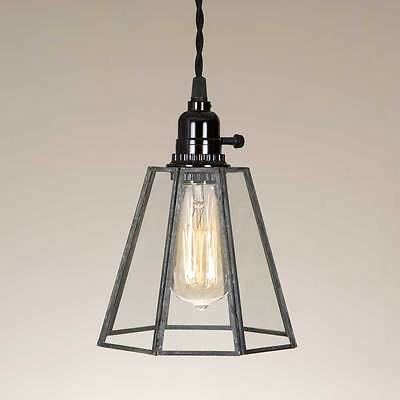 Vintage Style Rustic Grey Glass Bell Hanging Pendant Lamp Industrial Shabby Chic