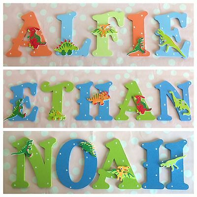 Children Bedroom Wall Door Wooden Letter Name Sign Multi Colour DINOSAURS THEME