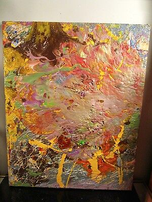 original abstract canvas painting signed by musk yai 16x20 ready to hang