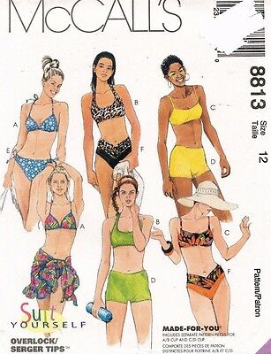 3248f57c33 MCCALLS SEWING PATTERN 8813 Size 18 Misses 2 Piece Swimsuits Sarong ...