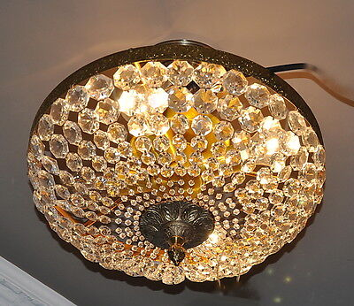 """LUSTROUS 14"""" BEADED CRYSTAL BASKET CEILING FIXTURE REWIRED and READY to INSTALL!"""