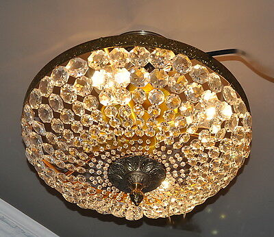 "VINTAGE 14"" BEADED CRYSTAL BASKET CEILING FIXTURE REWIRED and READY to INSTALL !"