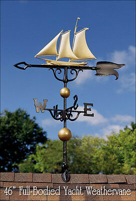 "Whitehall Yacht 46"" Full-Bodied GOLD-BRONZE Weathervane Includes Roof Mount"