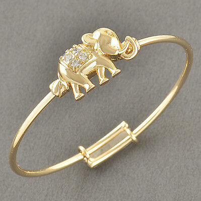 Infant Children Toddler Gold Filled Crystal Elephants Bangle Bracelet Adjustable