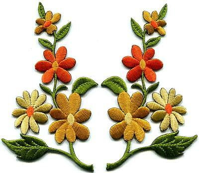 Orange gold wild flowers pair floral boho appliques iron-on patches S-1265