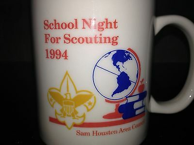 Boy Scout mug SAM HOUSTON COUNCIL BSA School Night for Scouting 1994 vintage