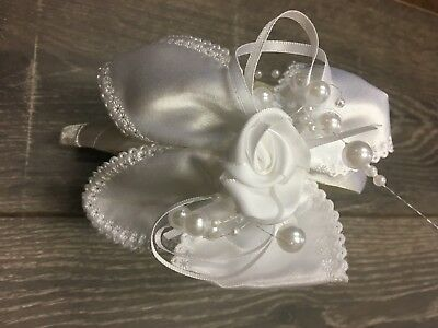 girl girls HEADBAND HEADBANDS white bow pearl rosette wedding christening