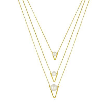 BERRICLE Gold-Tone Simulated Pearl V Shaped Fashion Layered Necklace