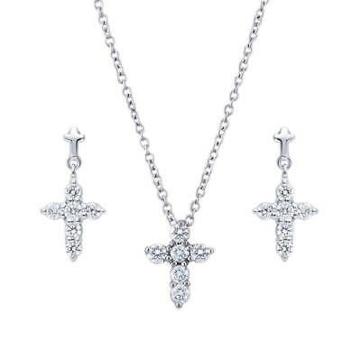 BERRICLE Sterling Silver Cubic Zirconia Cross Fashion Necklace and Earrings Set
