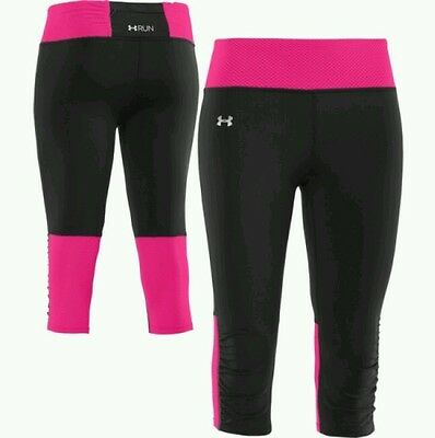 NWT Under Armour Womens Fly-By Compression Capri Legging 1236476 XSmall Blk/Pink