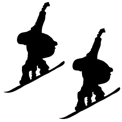 2 x Snowboard Snowboarder 10cm - 1m Car Window Wall Stickers Decal Pack 7 Black