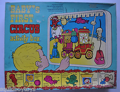 vintage BABY'S FIRST CIRCUS Activity Box w/ Box 1972 Little Angel