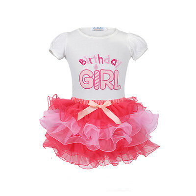 1st Birthday Outfits 2PCS Girls Kids Toddler T-shirt Top Tutu Skirt Baby Clothes