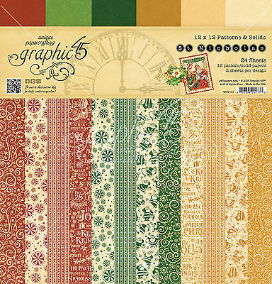 Graphic45 ST. NICHOLAS Patterns/Solids 12x12 PAPER PAD scrapbooking (24) pcs