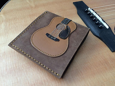 Handmade Mens Genuine Leather Dreadnought Acoustic Guitar Wallet - Bob Dylan