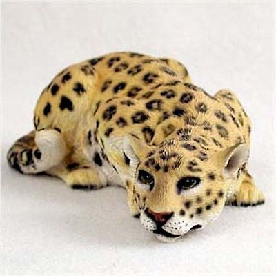 Realistic Hand Painted Cold Cast Stone Resin Leopard Display Figurine
